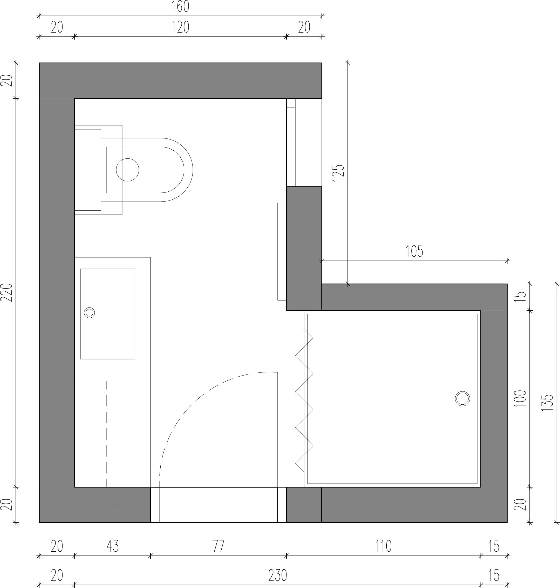 Kopalnica tloris, notranje oblikovanje - POKE studio