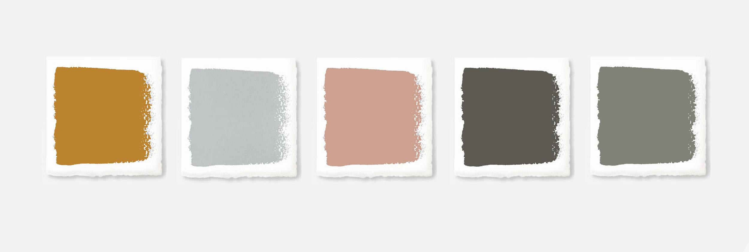 Poke studio, notranje oblikovanje, barvna paleta