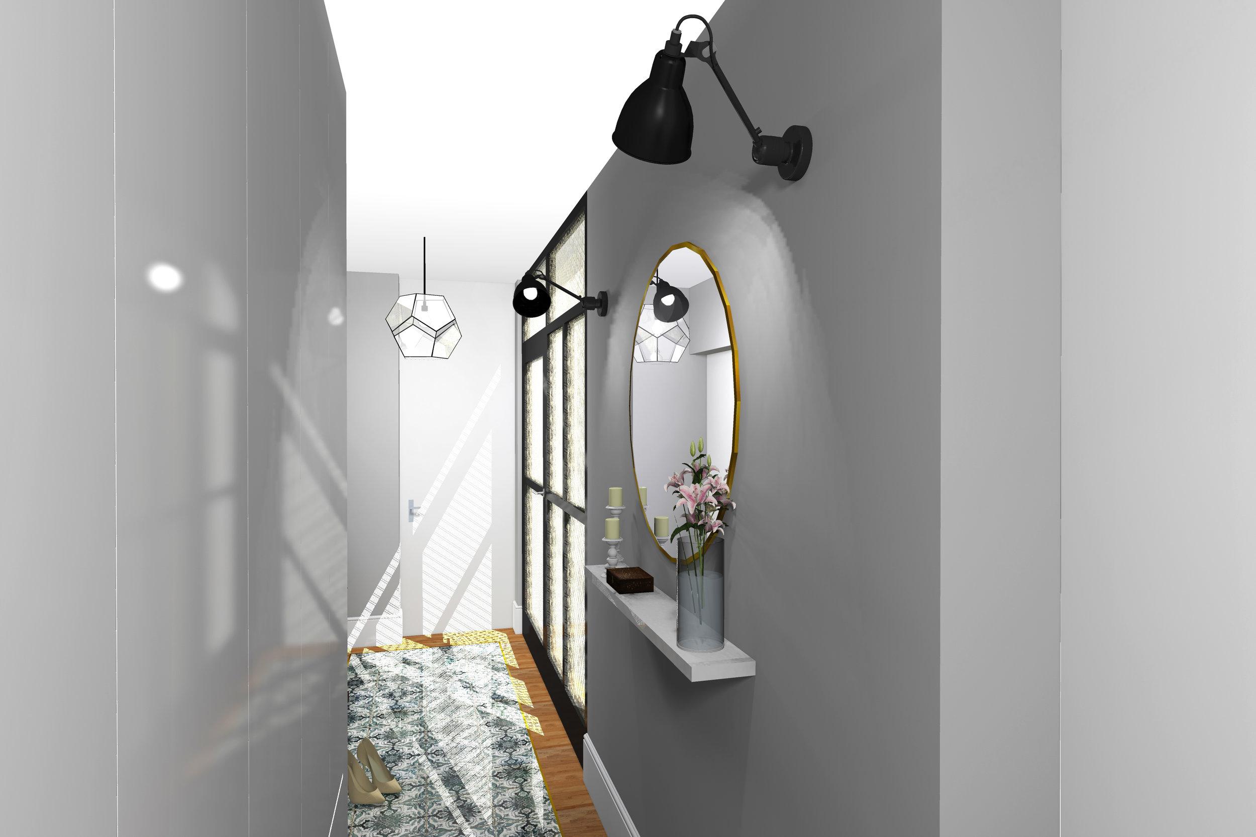 Poke studio, notranje oblikovanje, hodnik