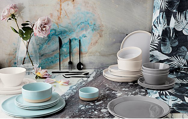 5.  CB2 :  level , light blue dinnerware