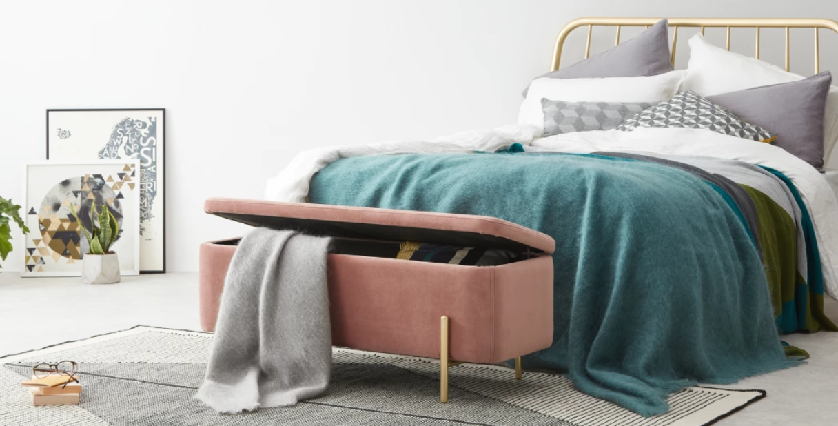 1.  MADE :  Asare , upholstered storage bench