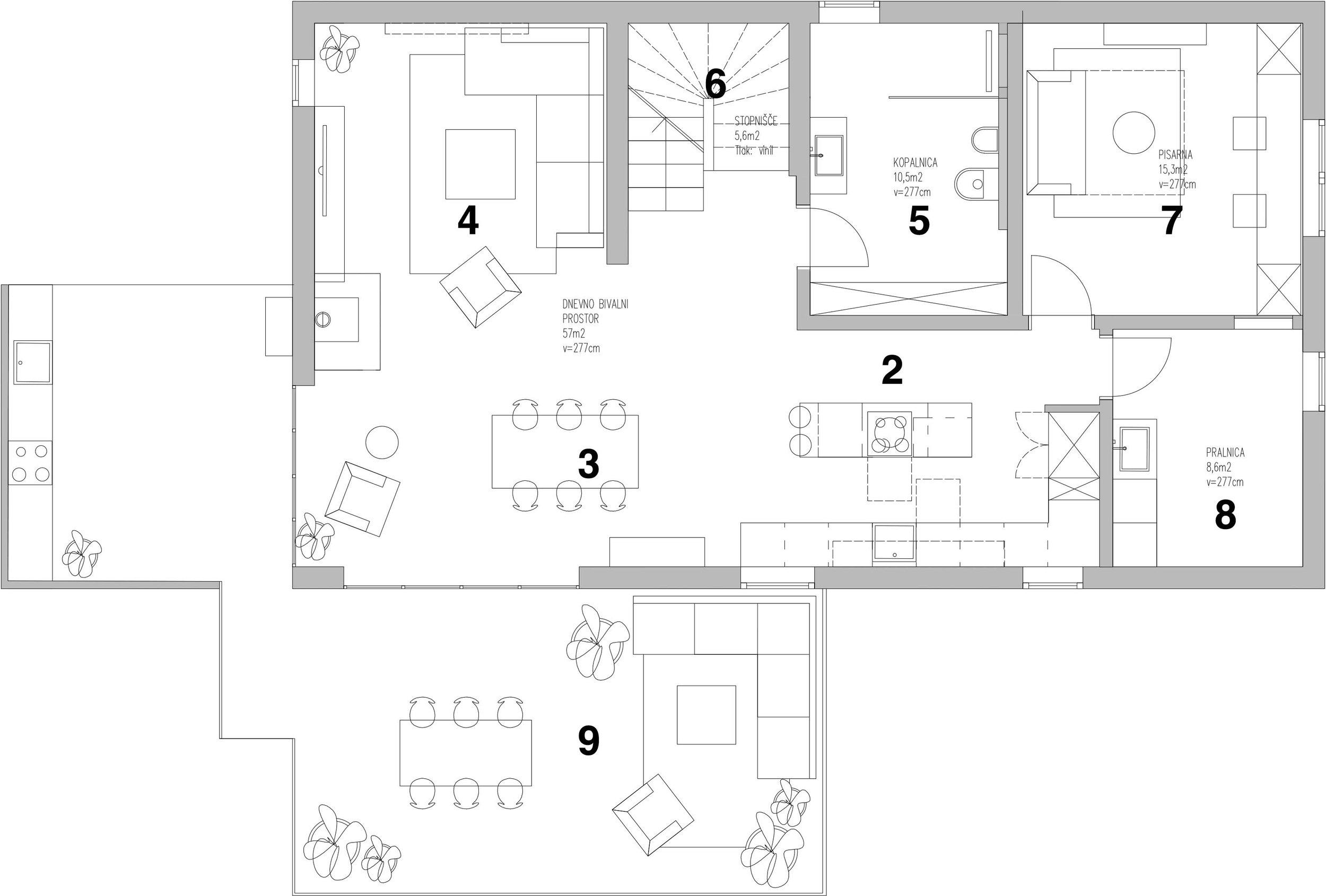 First floor - 2. Kitchen3. Dinning room4. Living room5. Bathroom 16. Stairway7. Office8. Utility9. Terrace