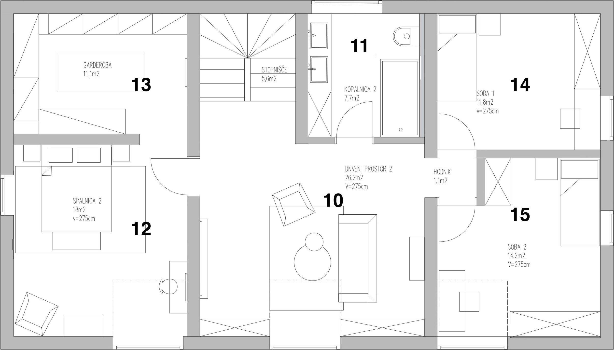 Attic - 10. Living room 211. Bathroom 212. Bedroom 113. Walk in closet14. Bedroom 215. bedroom 3
