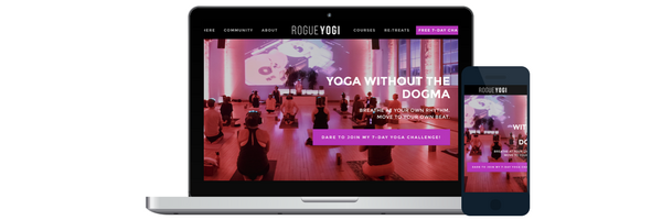 rogue yogi website redesign, website design, rogue yogi, rogue yoga, online yoga, yoga for beginners, yoga at home, yoga for weight loss, power yoga, julie tran yoga, dare to be stronger, yoga without the dogma, how to practice yoga, how to practice yoga at home
