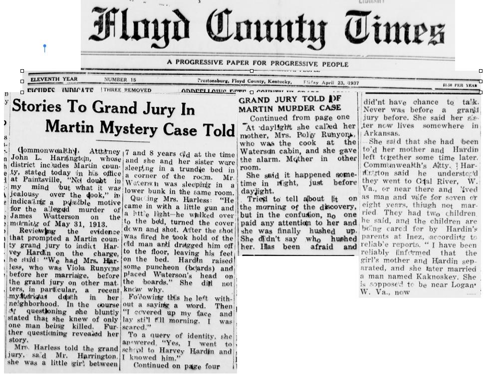 Viola Runyon Harless Witnesses Murder as Child