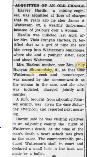 Harvey Hardin Acquitted of Murder witnessed by Viola (Runyon) Harless