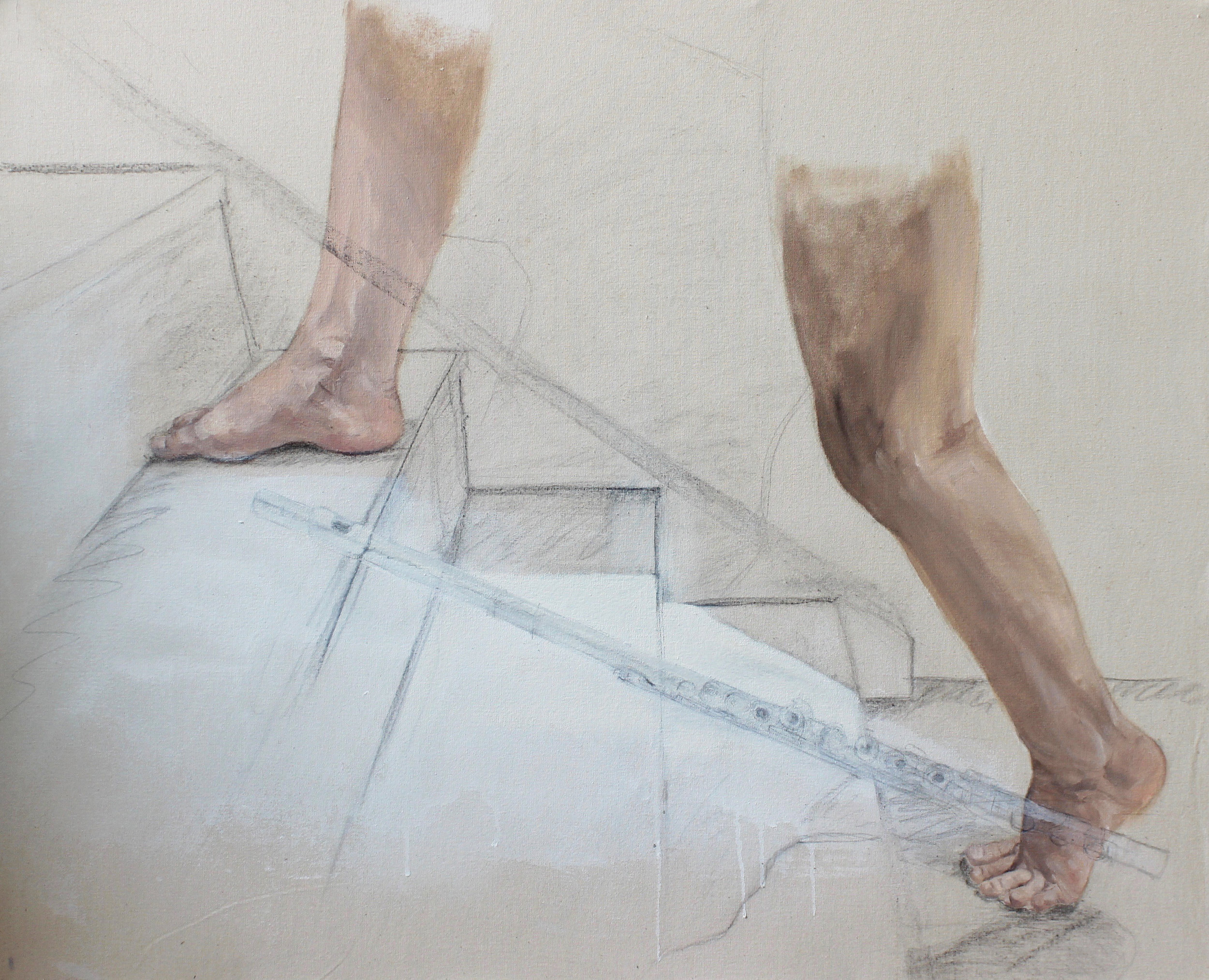 'Climbing the Third Stair'  70cm x 100cm  Oil and pencil on canvas
