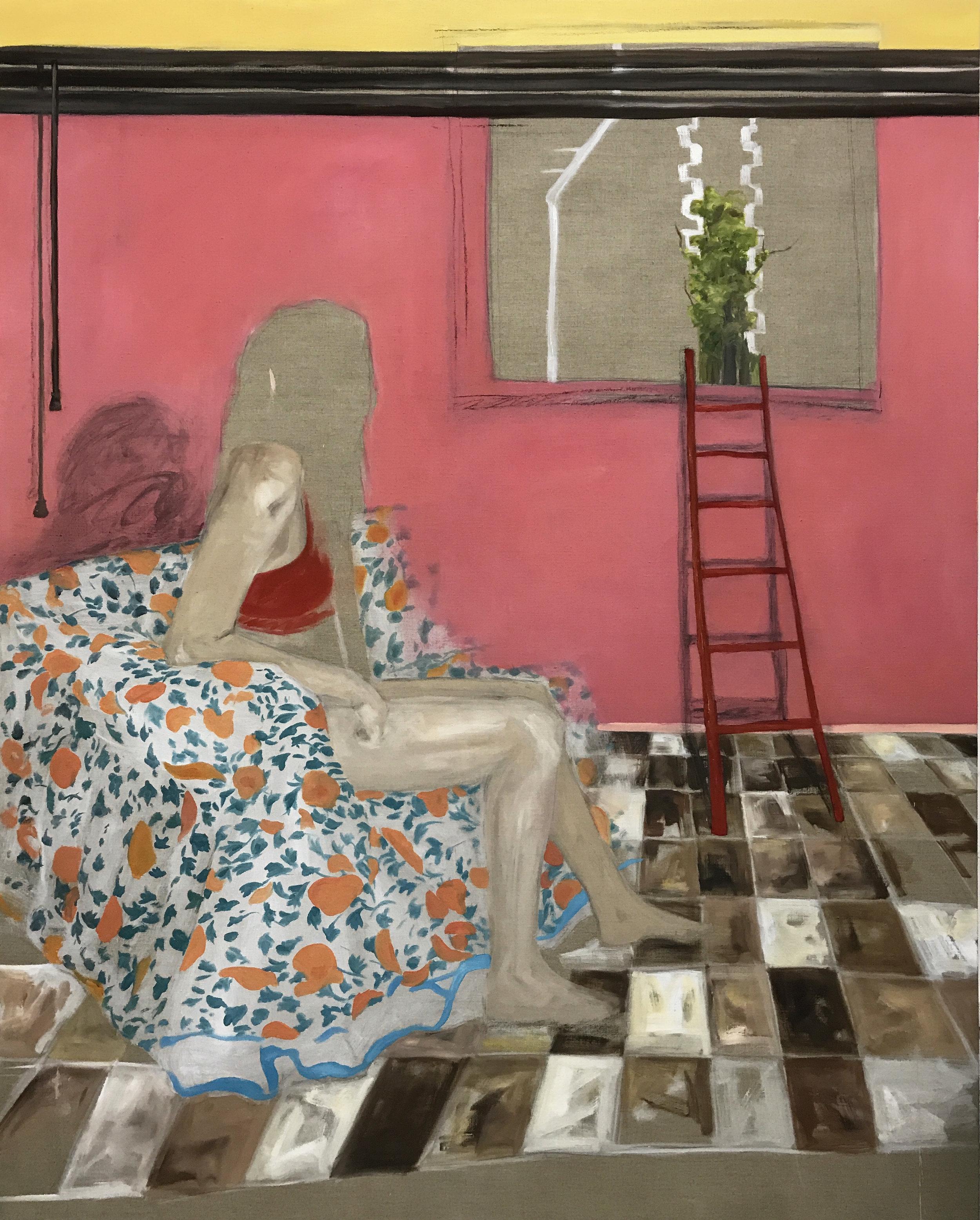 'Woman'  Oil, transparent gesso, crayon on linen  160cm x 130cm