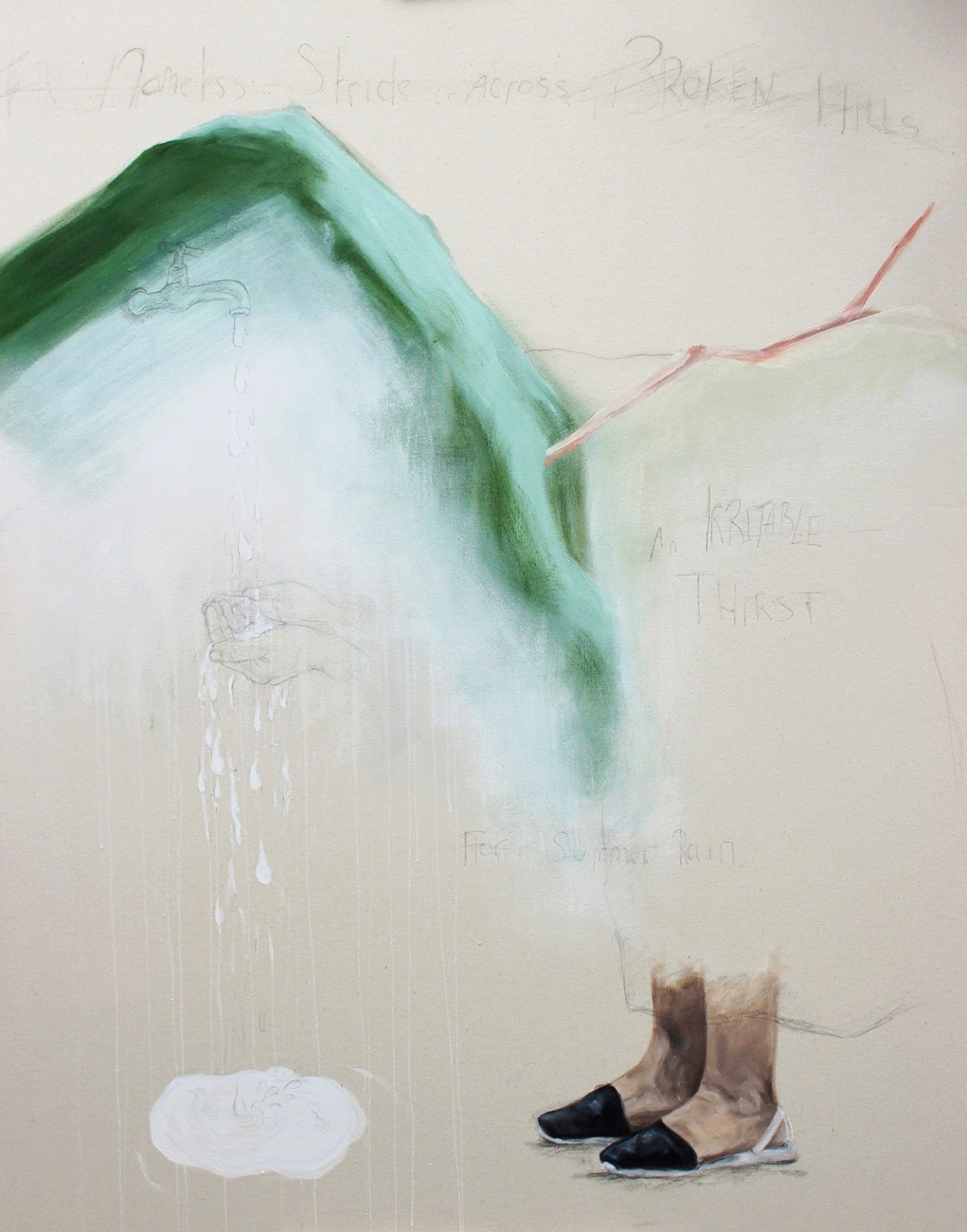 'Drinking from False Fountains'  Oil, gesso and pencil on semi-primed canvas  110cm x 140cm