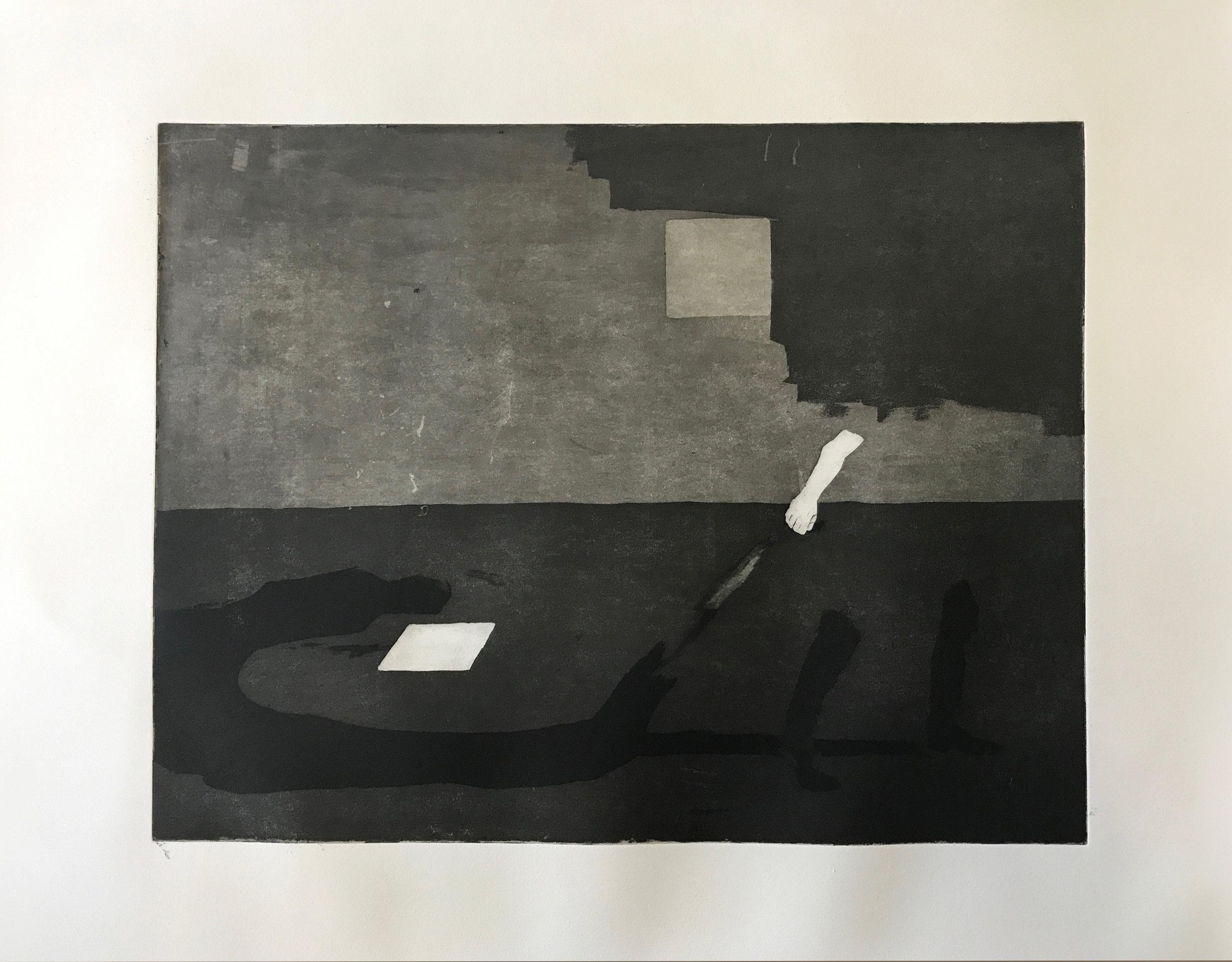 Dragging my Shadow  Engraving with aquatint  30 x 40 cm
