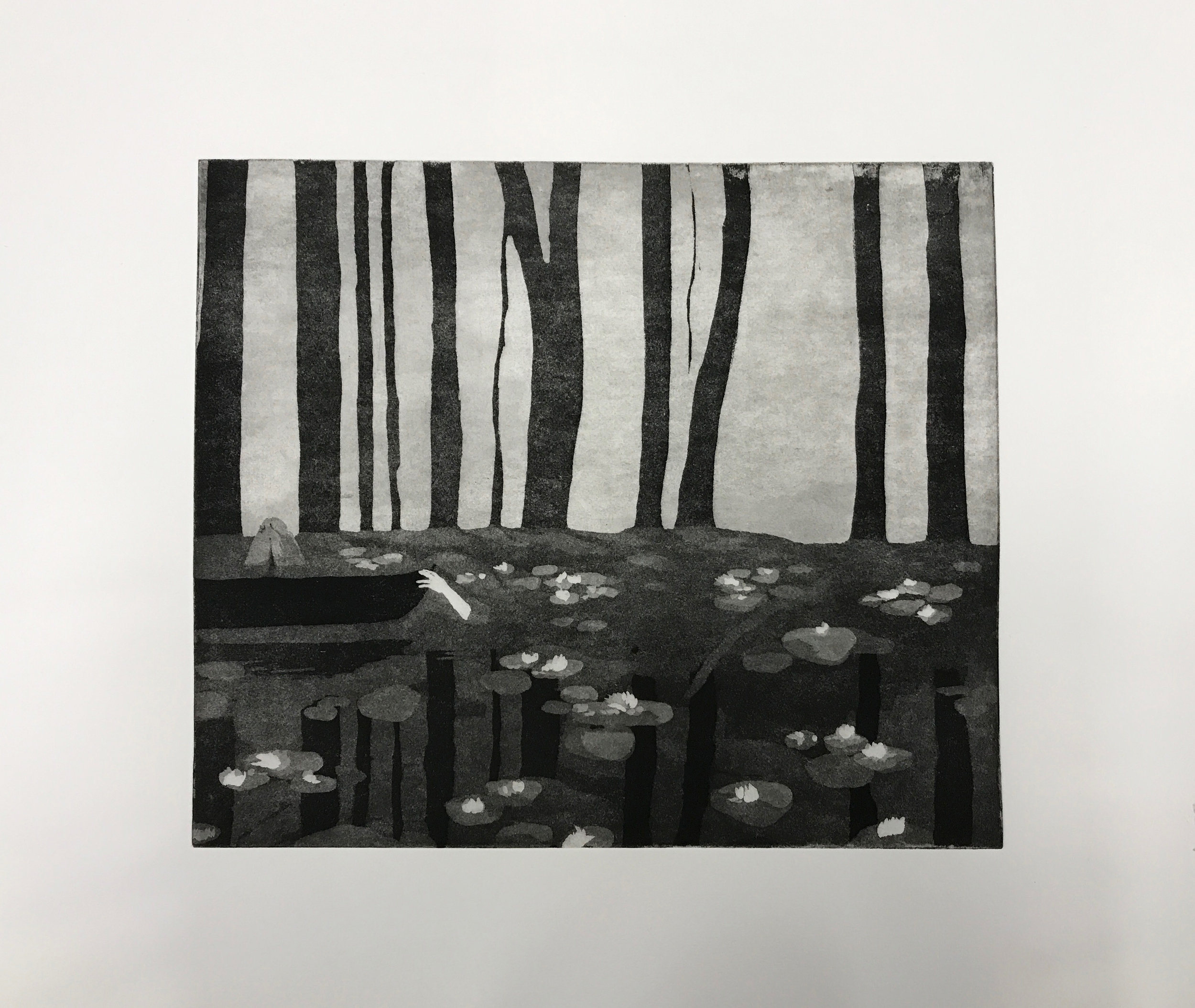Crossing the Water  Engraving with aquatint  30 x 35 cm