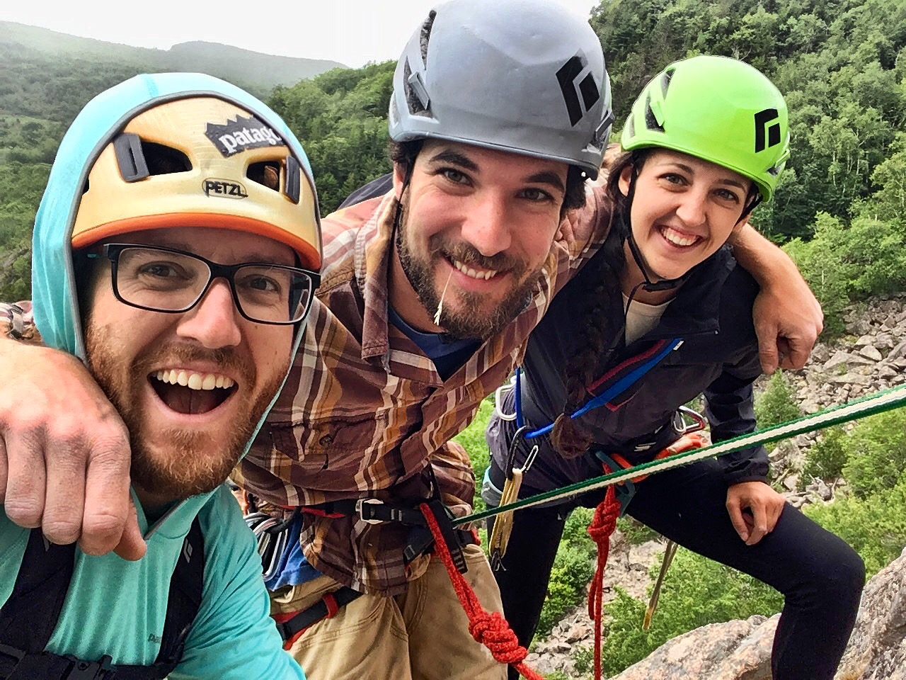 Noah Kleiner John Sidik and Lauren Cote Rock Climbing