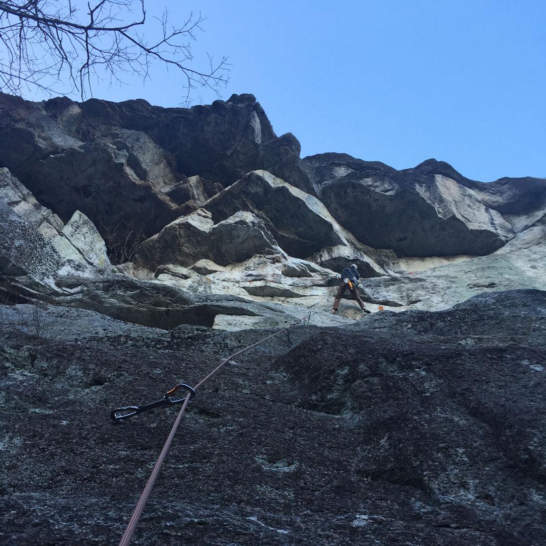 Above: John climbing at Clifton.Photo:  Alexa Wagner