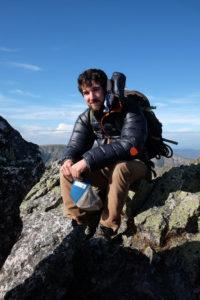 John Sidik on the knife edge of Katahdin. Photo:  Alexa Wagner.