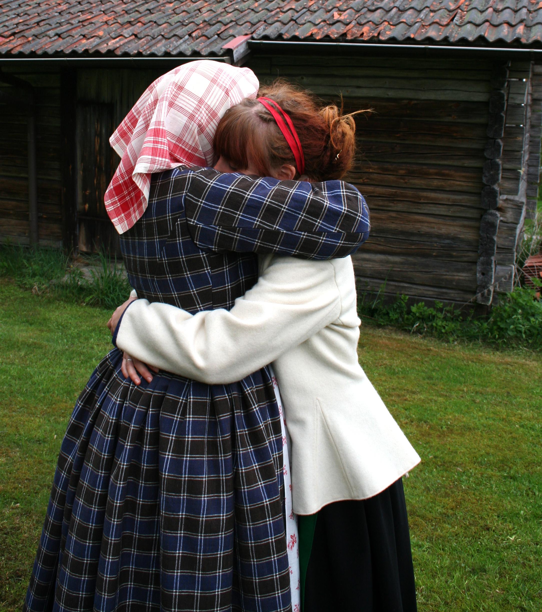 Nyrokokoklänning i halvylle. Finns på Skansen. Foto: Monica Hallén