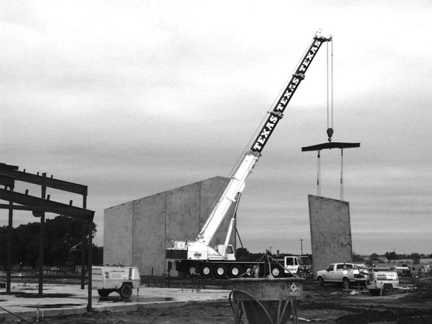 Setting Tilt Wall Panels with 300 Ton DeMag (1996).