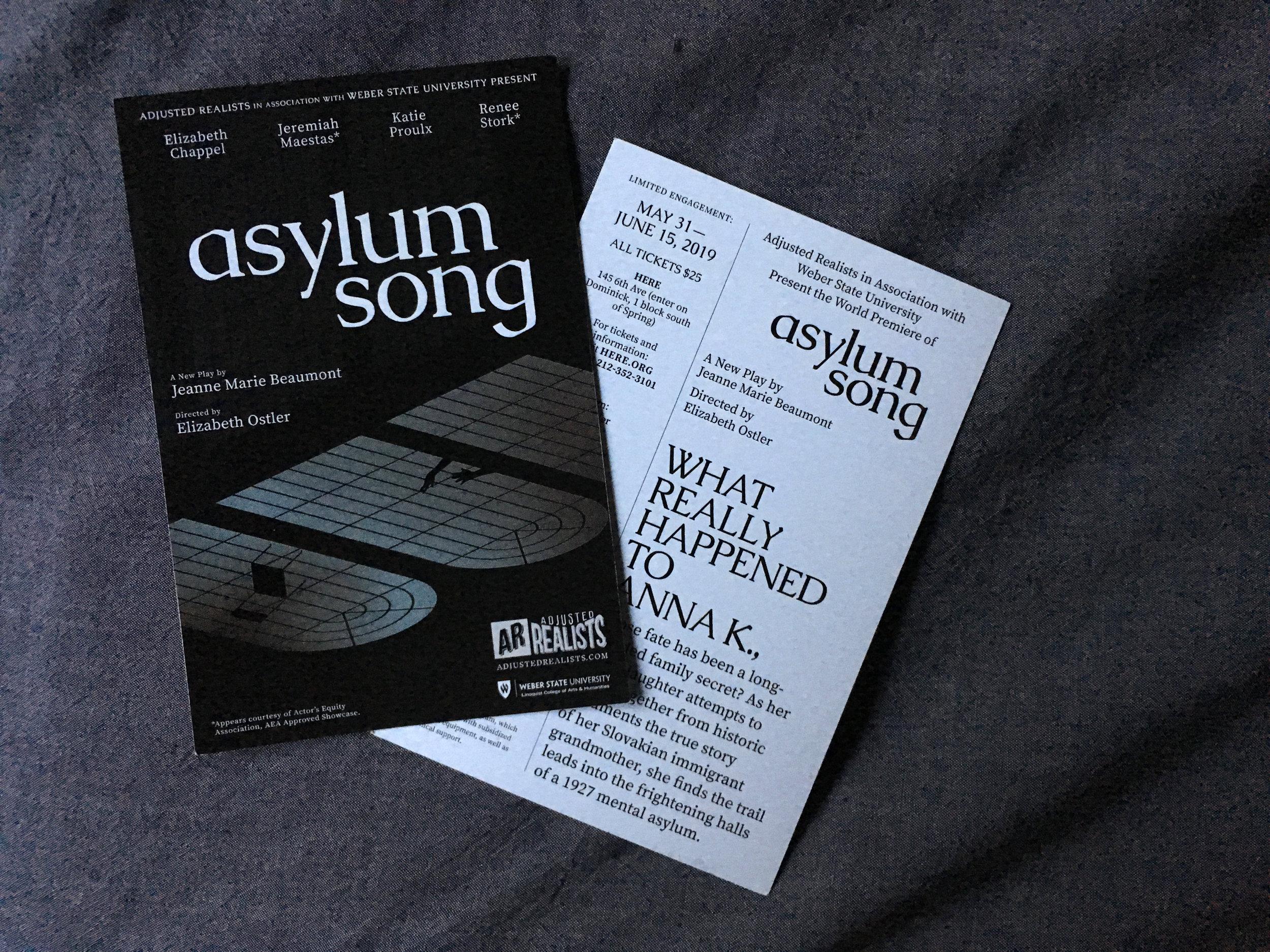 Asylum Song  promotional cards.