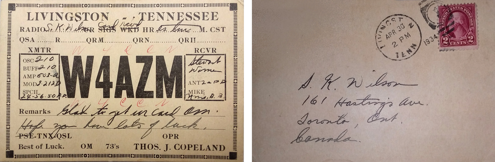 1934 QSL Card from the original W4AZM