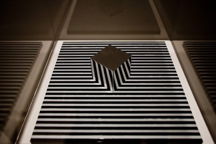 Cube on a Striped Surface, 1964