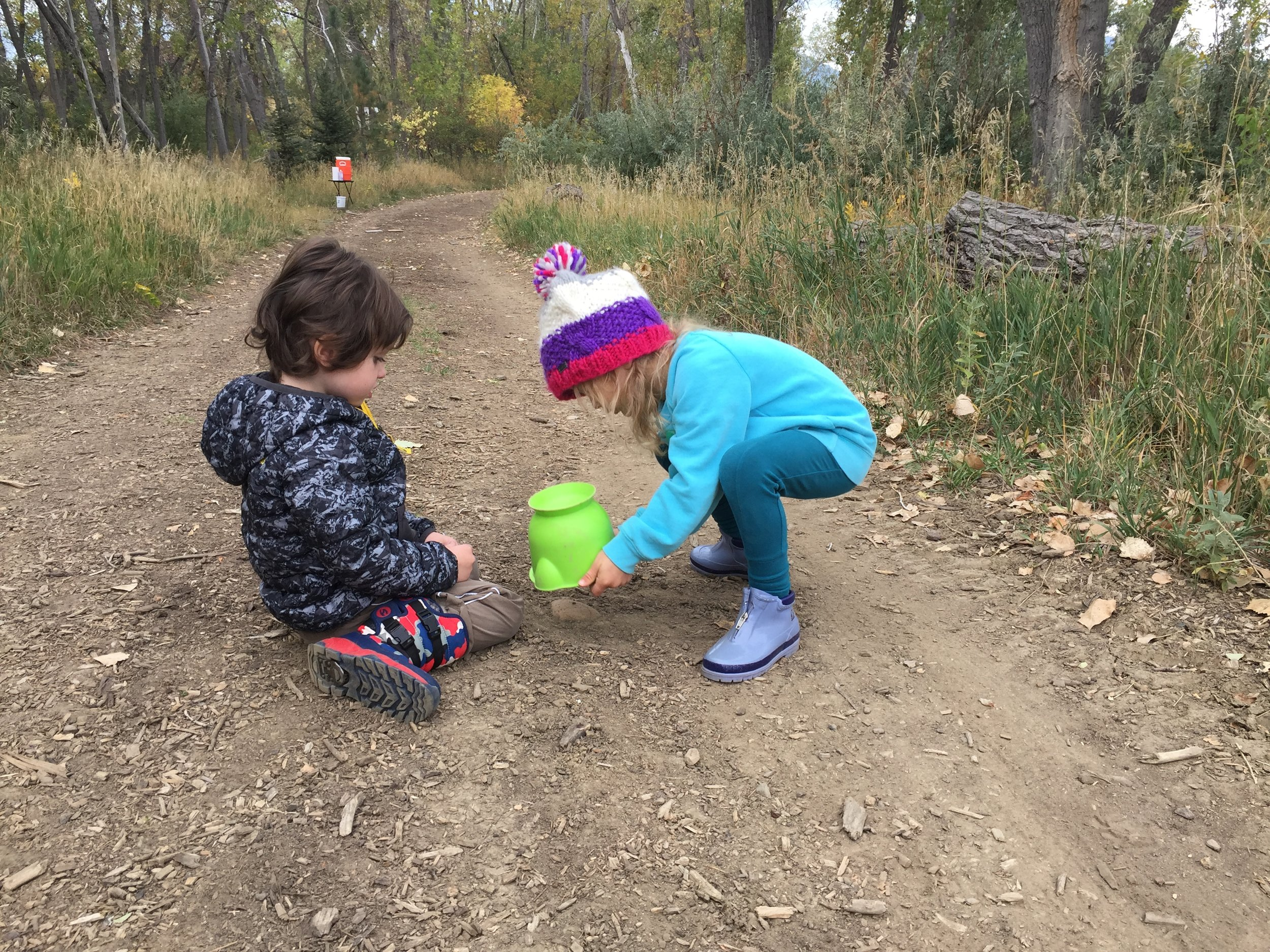 """Using a bucket to try to dig up a """"fossil."""""""