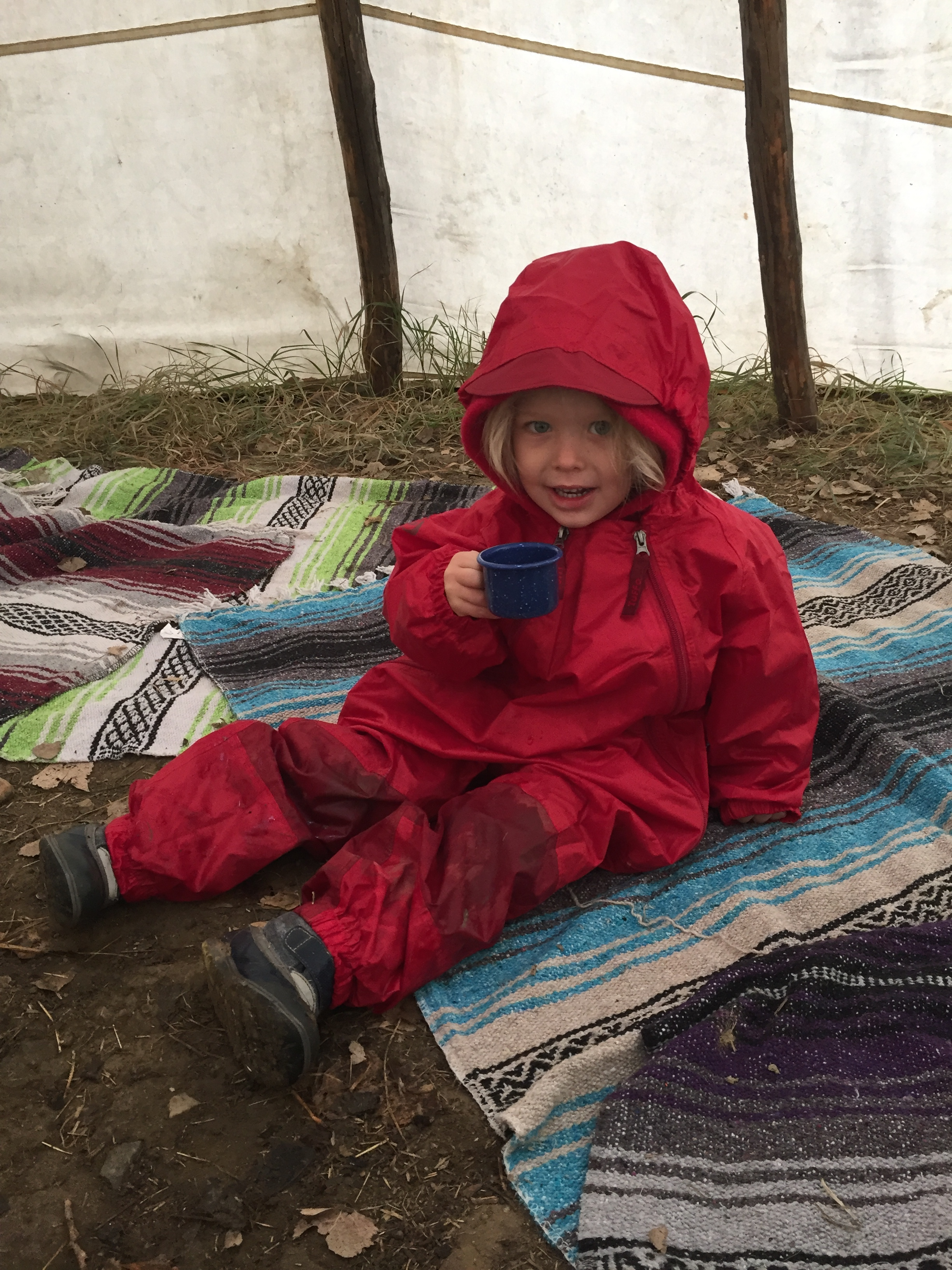 Enjoying a cup of cherry tea in the tipi! Sharing tea is one of our daily rituals.