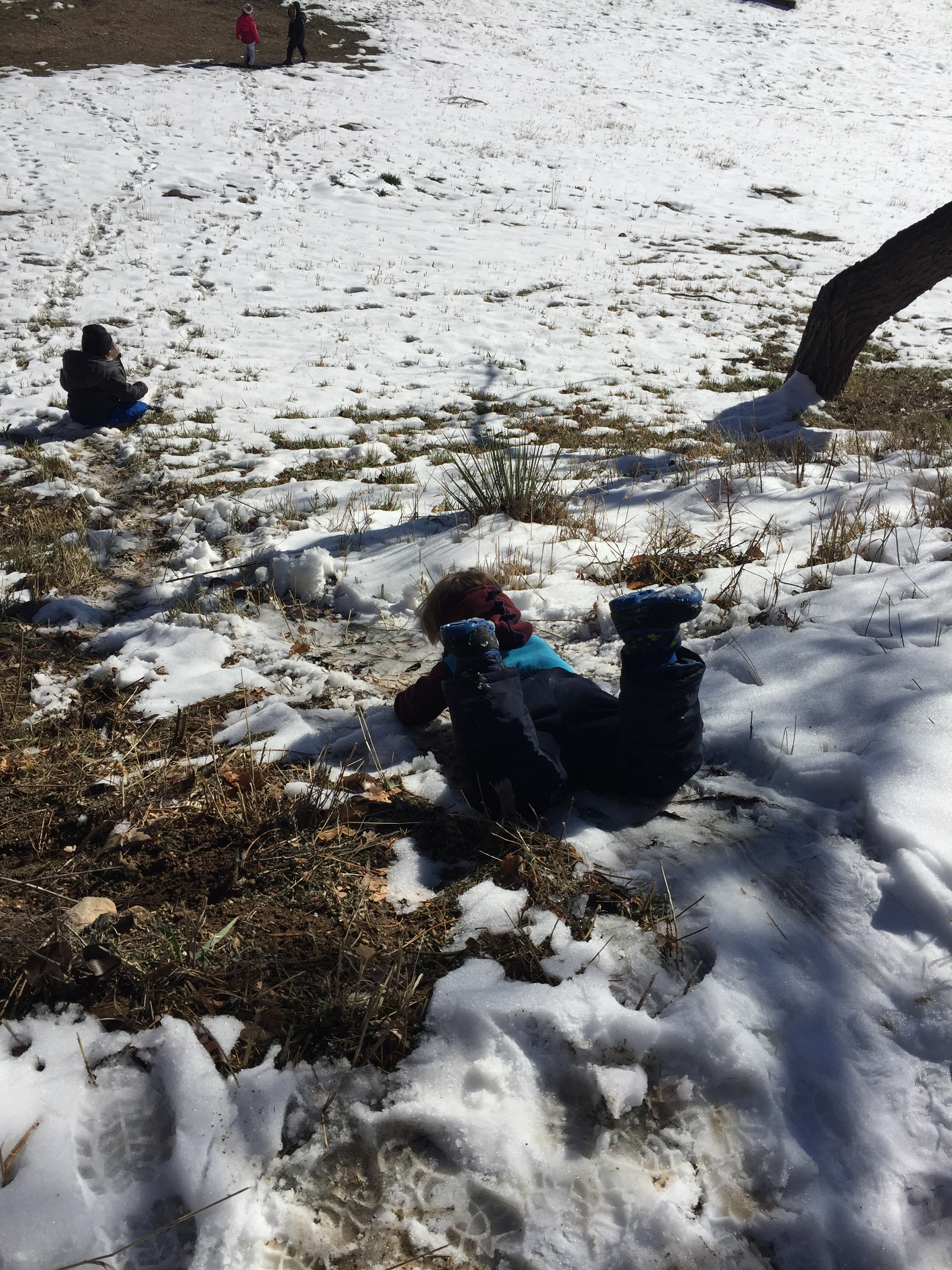 The children laughed and laughed as they slid like penguins. Most of the children spend a good portion of their time pretending to be various animals.
