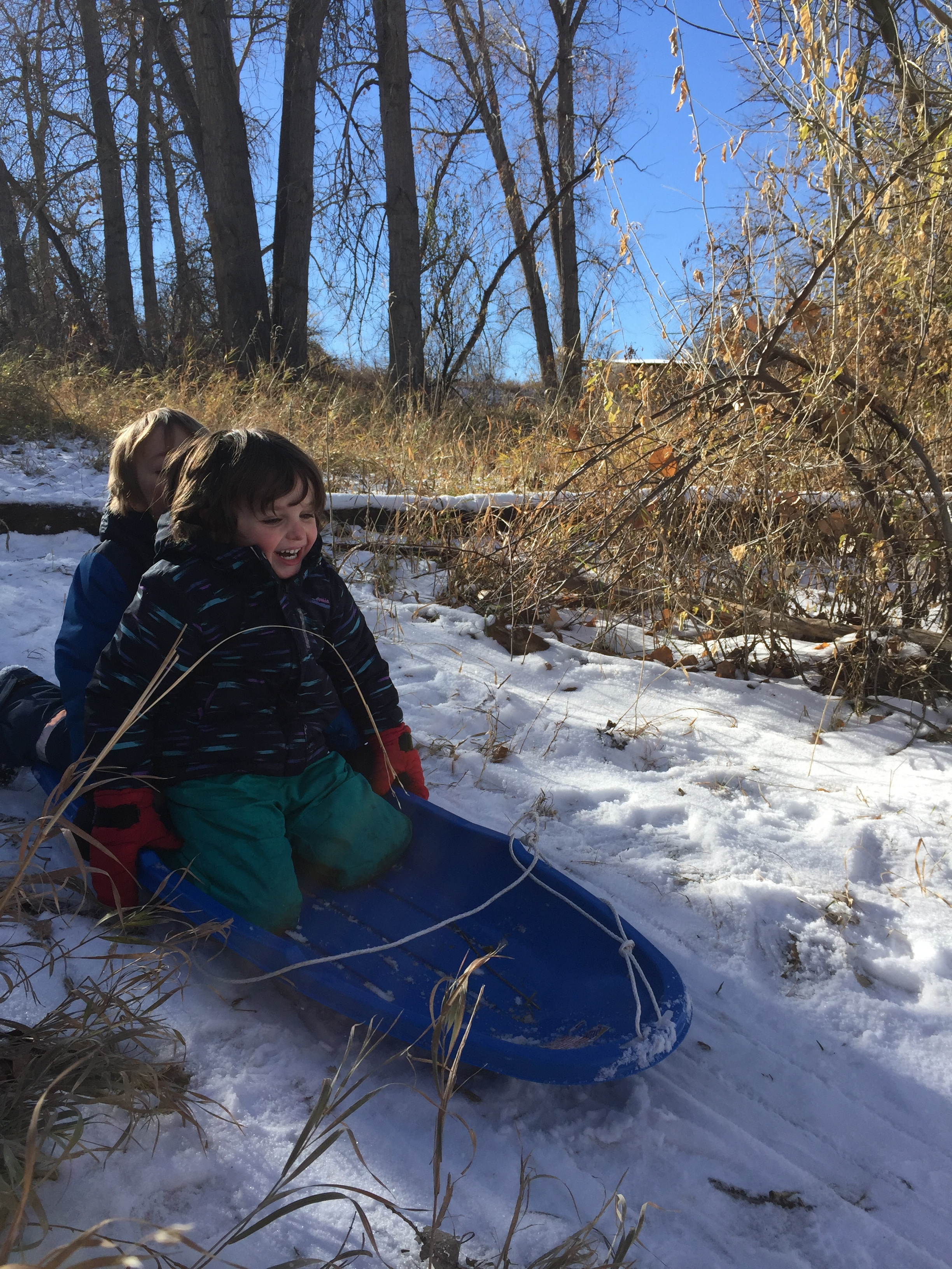 Such joy! Sledding is not only fun and great exercise, but it also builds kids' group communication skills, resilience, and invites creativity.