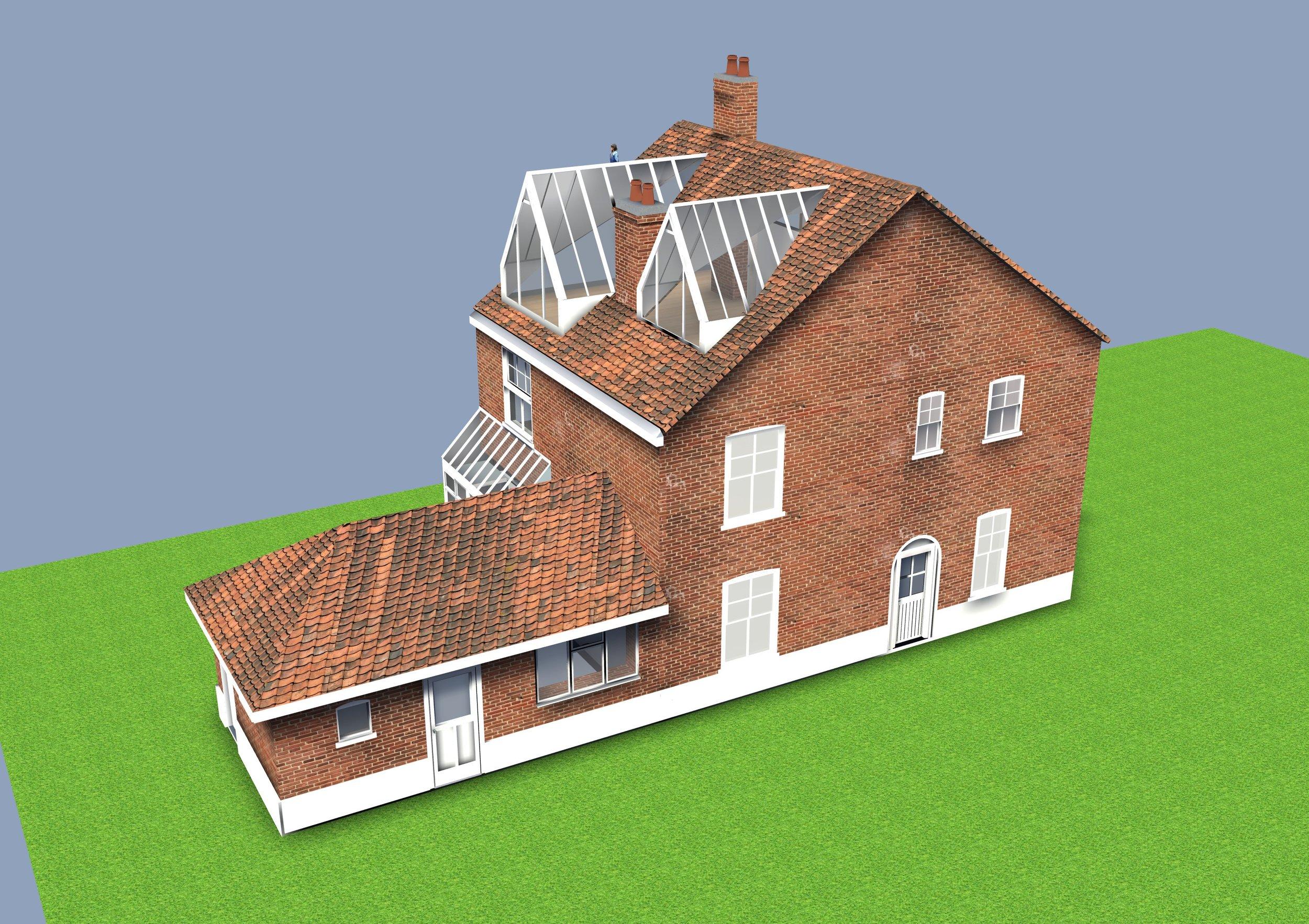 Exterior view of 3D model.
