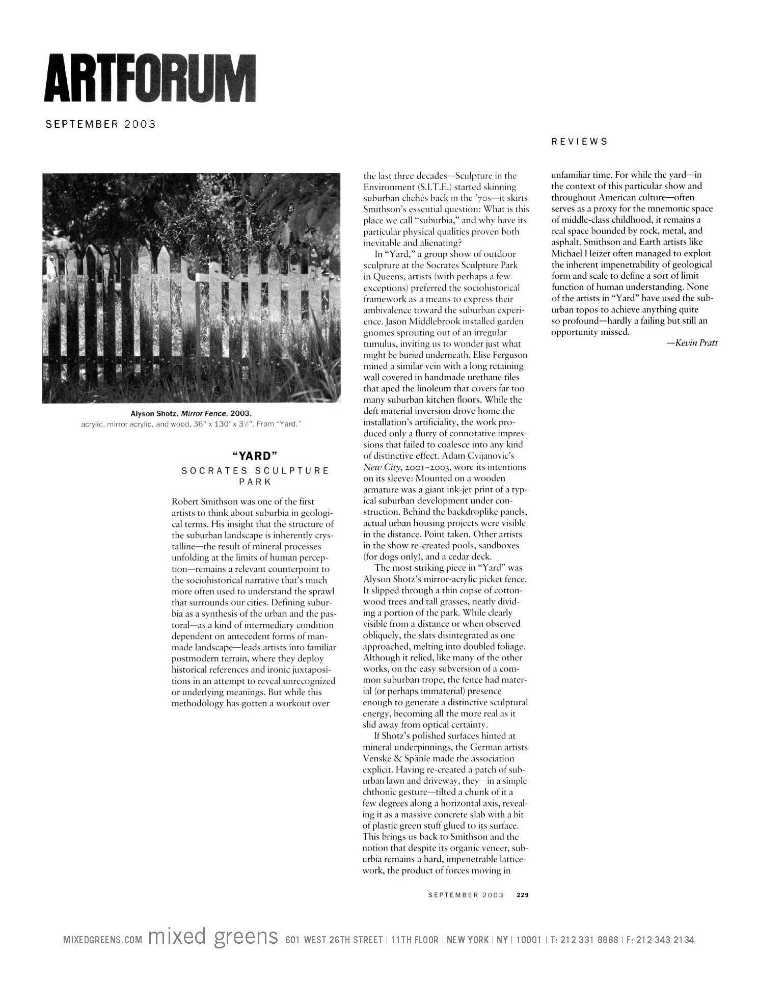 Artforum: September, 2003