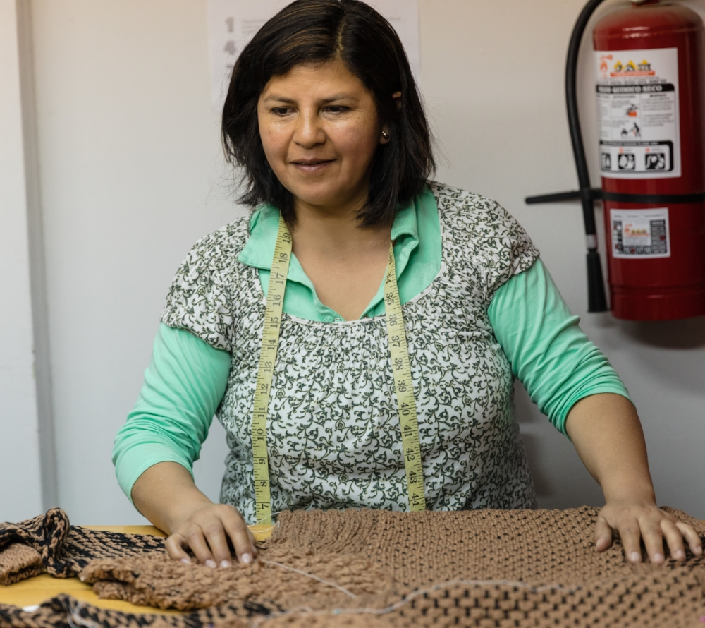 Moesel Clothing - Local Artisans in Lima, Peru create the final product from Jacquie's designs.