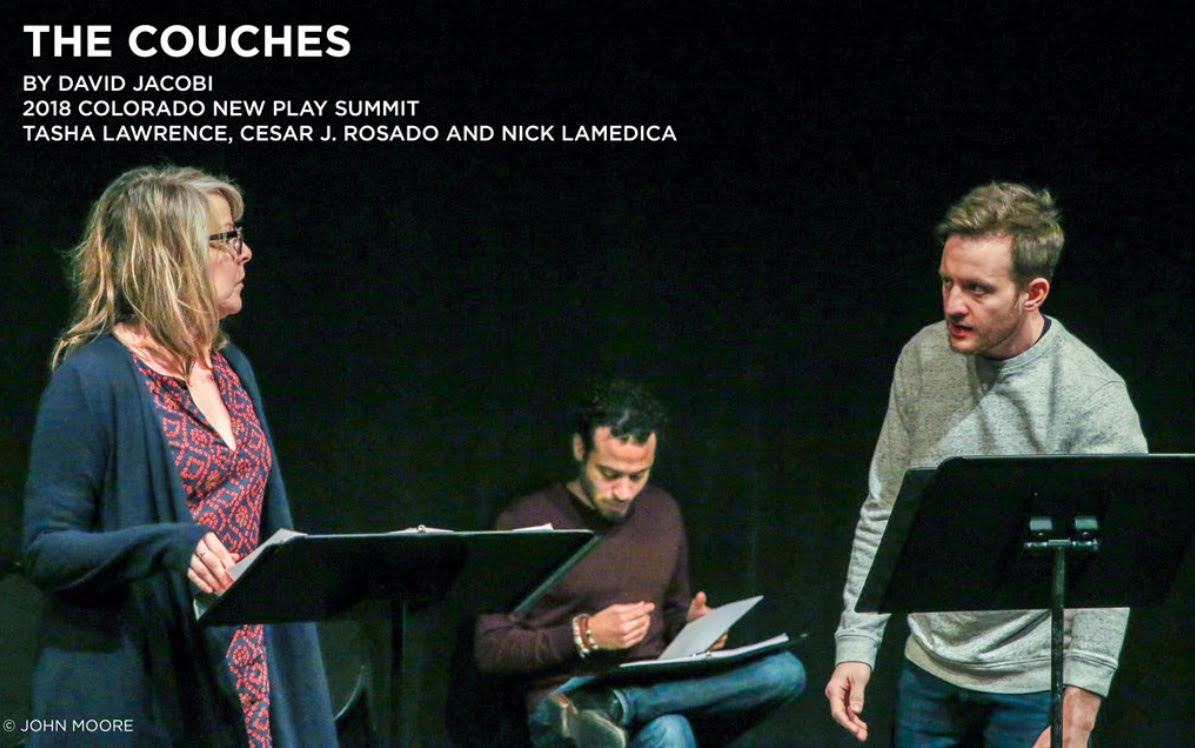 2018 Colorado New Play Summit at The Denver Center For the Performing Arts Spotlight: 'The Couches,' by  @ DavidJacobi  . Ethan Couch killed four people while driving drunk, then claimed 'affluenza': He was simply too rich to know right from wrong. From left: Tasha Lawrence,  @ cesarjrosado   and  @ NickLaMedica  .  # DCPAToday    # CNPS18