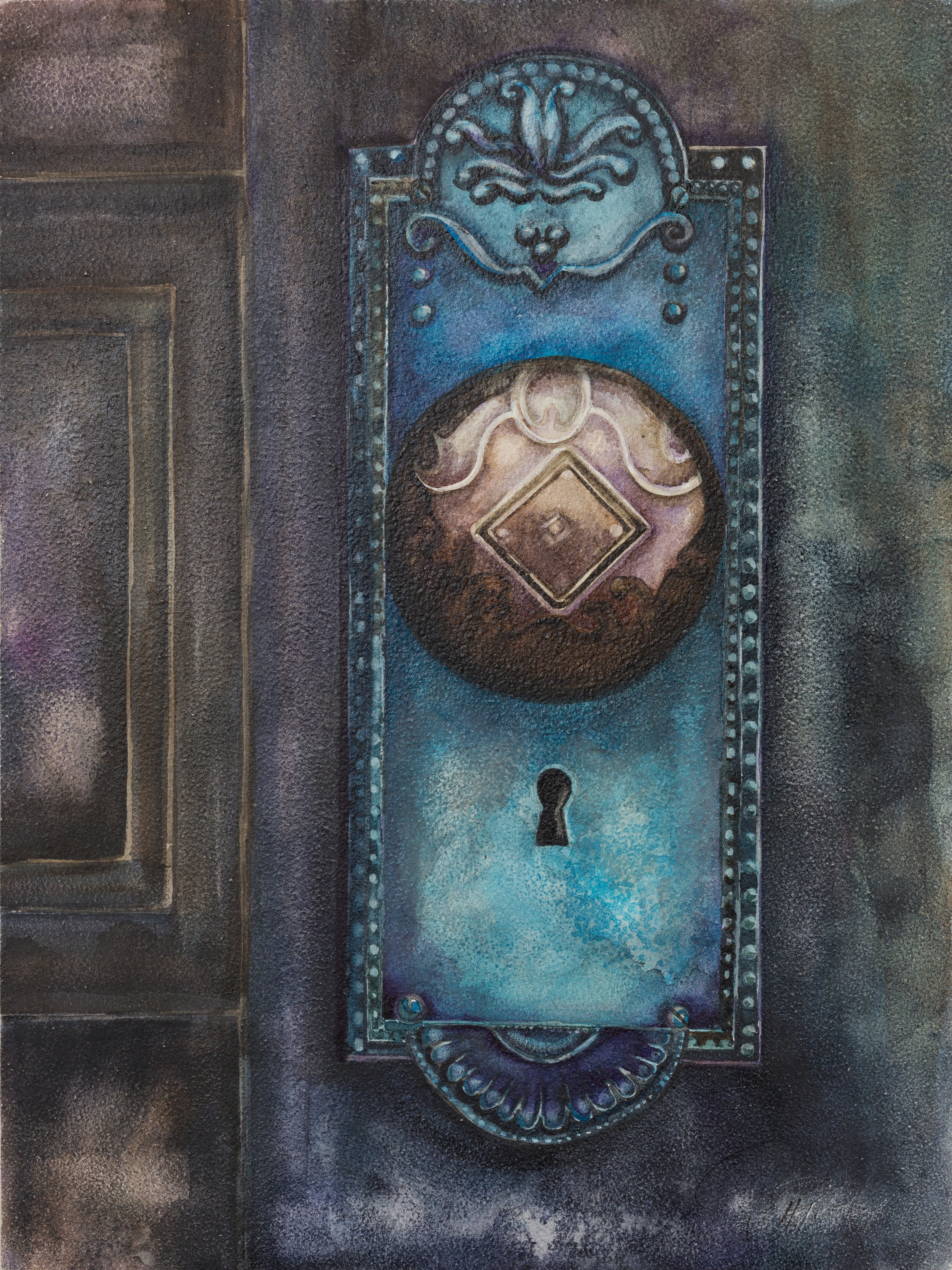 """Antique Blue Door  9 X 12"""""""