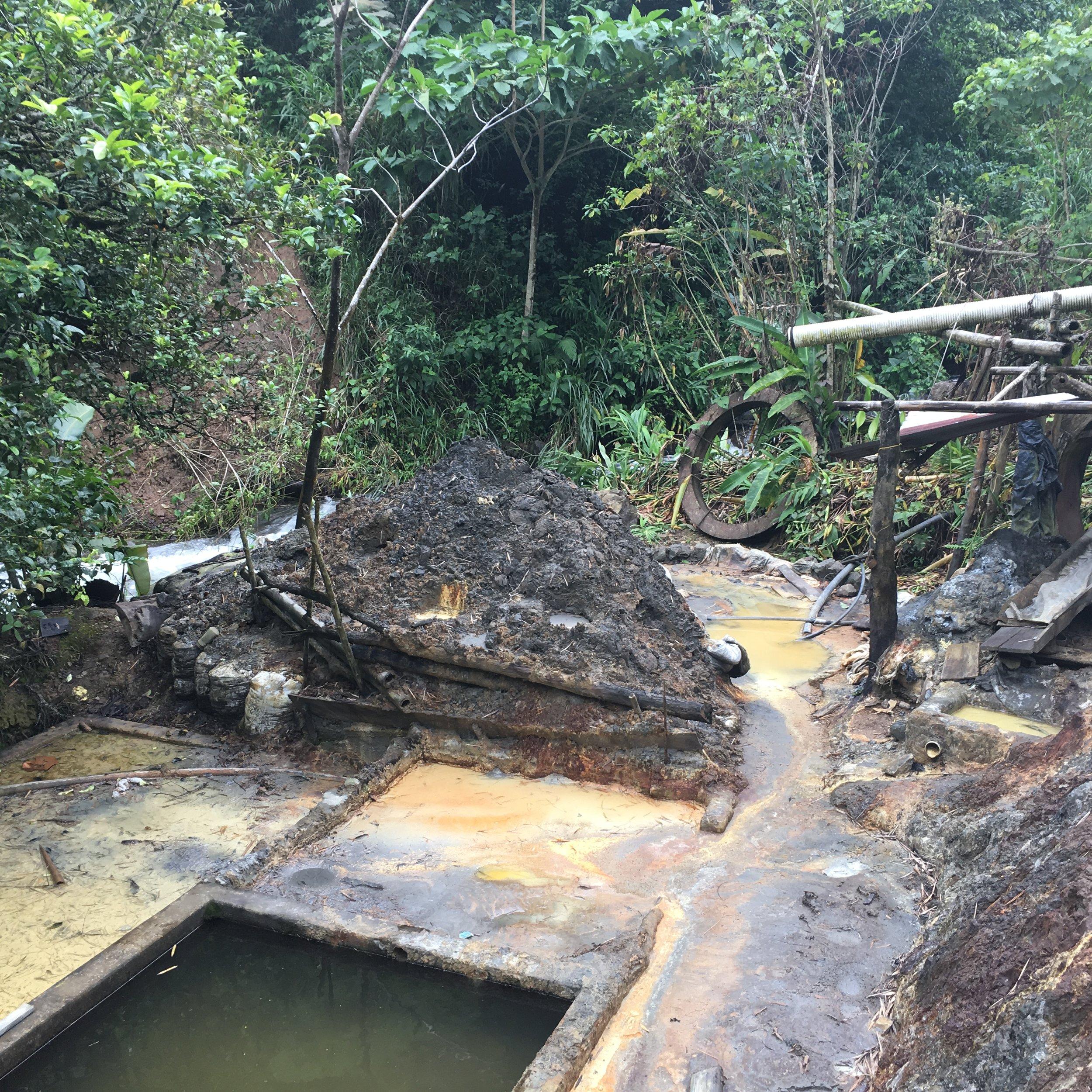Mercury contaminated area adjacent to the Hondo River, Colombia. Photo: Video still, courtesy of France 24, Spanish language television program.
