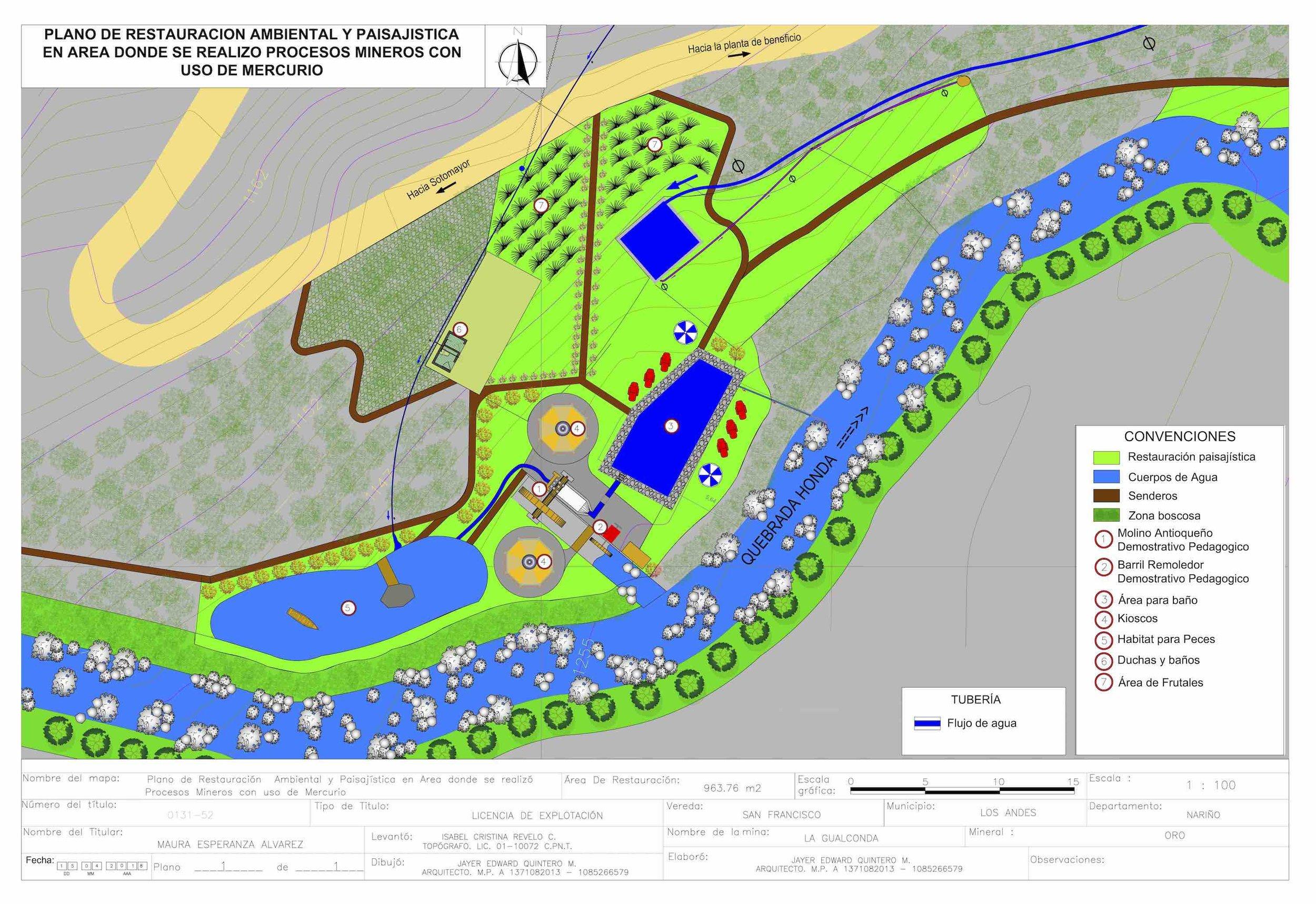 Plan de la zona restaurada desarrollado por las autoridades ambientales de la región.