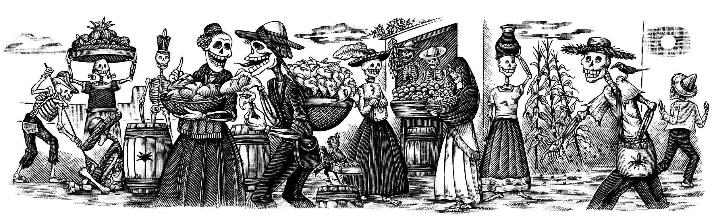 """Recuerdo,"" the label for Espolòn Tequila Reposado, depicting the Mexican marketplace, and made as tribute to Jose Guadalupe Posada calavera skeletons."