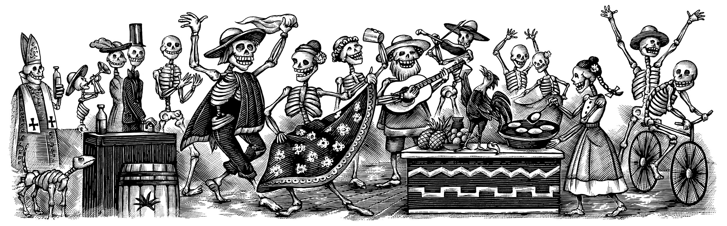 """Jarabe de Jalisco,"" the label for Espolòn Tequila Añejo shows the forbidden hat dance, and made as tribute to Jose Guadalupe Posada calavera skeletons."