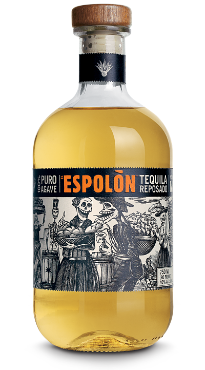 Espolòn Tequila Reposado, 100% Blue Weber Agave. Rested 6 months in new American oak barrels, it's perfect for sharing.