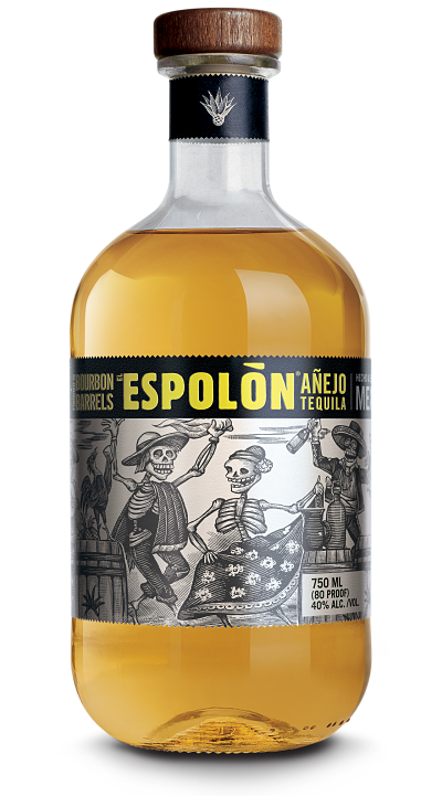 Espolòn Tequila Añejo, 100% Blue Weber Agave. Aged 1 year and finished in bourbon barrels, it's perfect for sipping.
