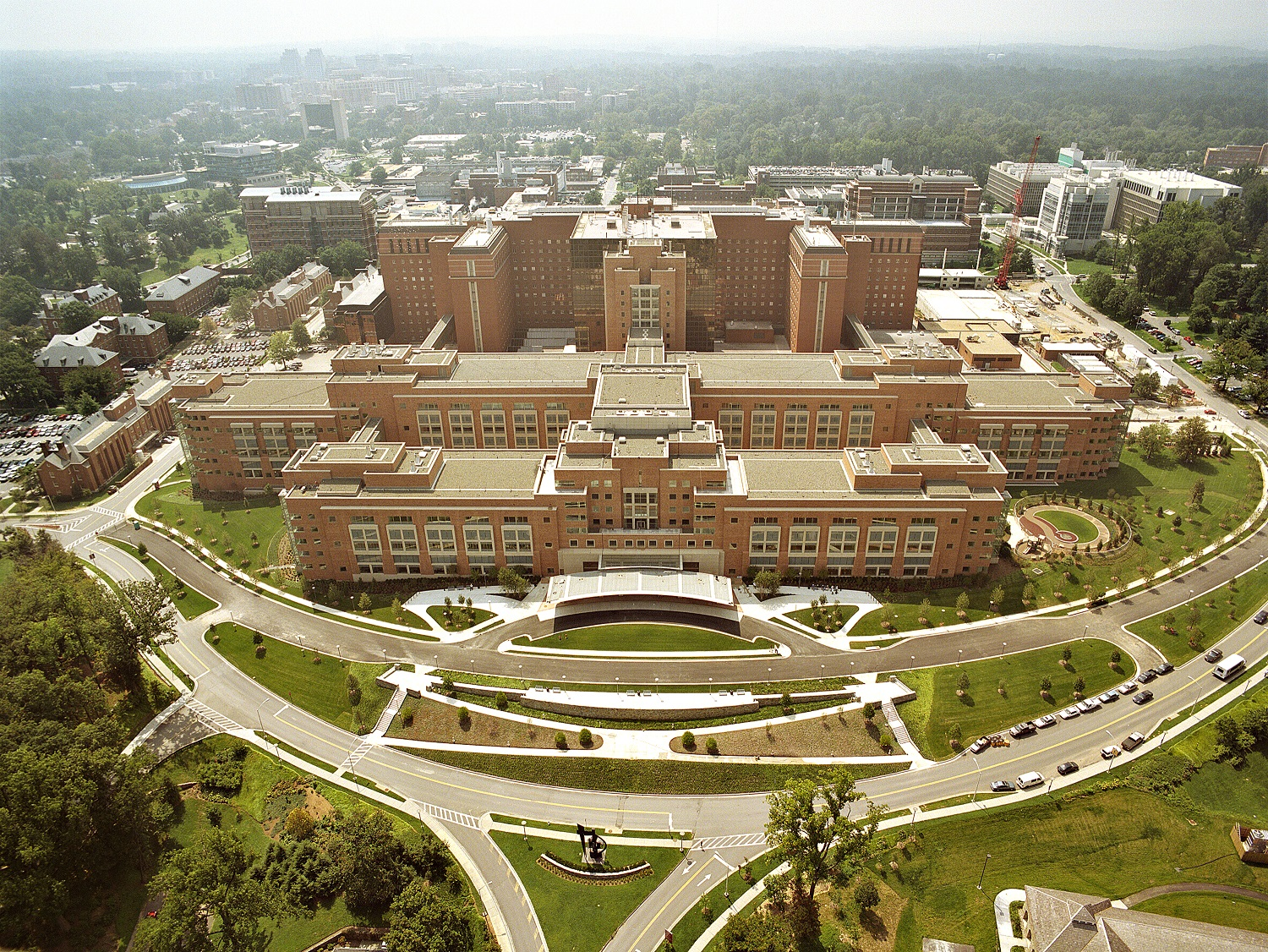 Aerial view of the NIH Clinical Center. Image courtesy of the NIH Clinical Center