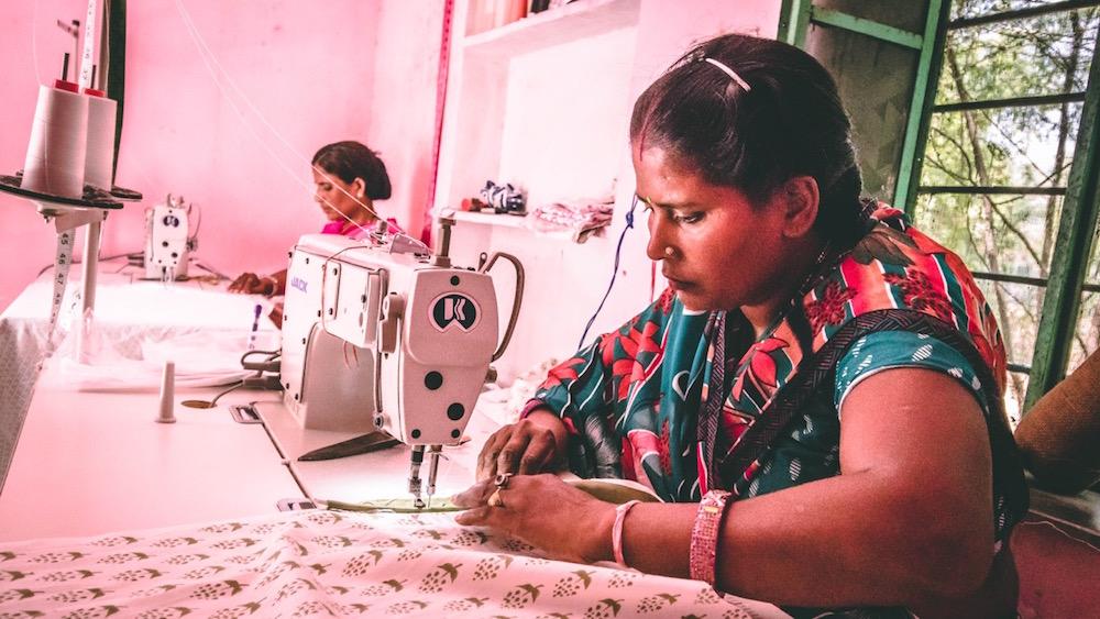 Manju and Basanthi in the block printing studio. Image by Himanshu Khandelwal