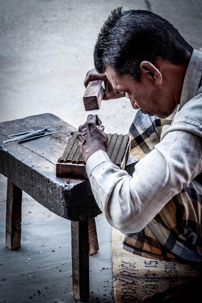 An artisan blocking printing in the studio.Image by Himanshu Khandelwal
