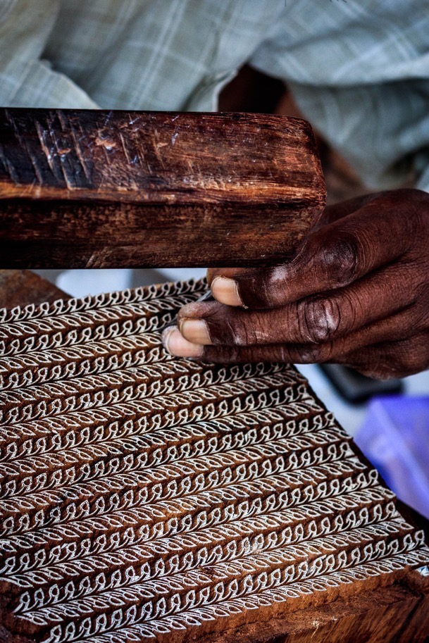 An artisan woodcarving for block printing for Baby Pepper's.Image by Himanshu Khandelwal