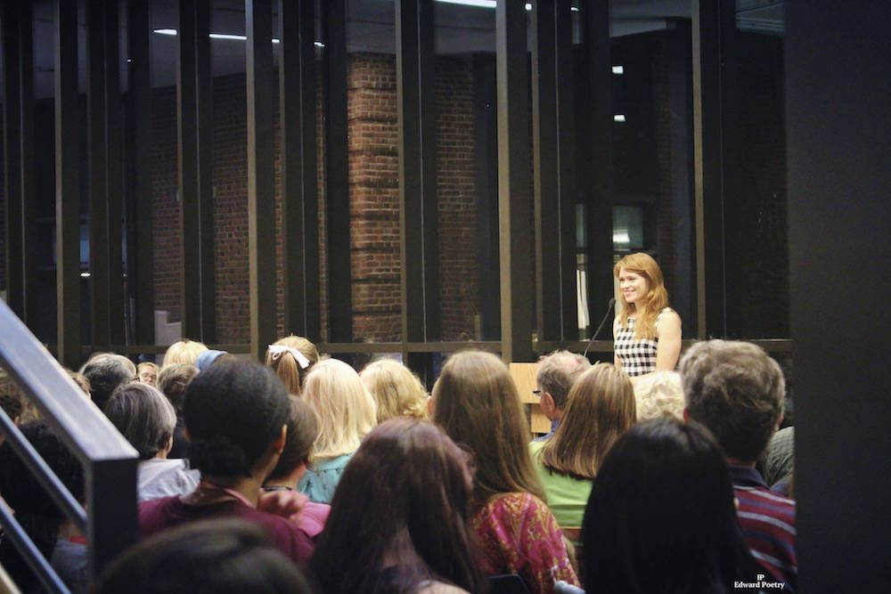 Emily reading at Sweet Briar Reading. Photo by Edward Poetry