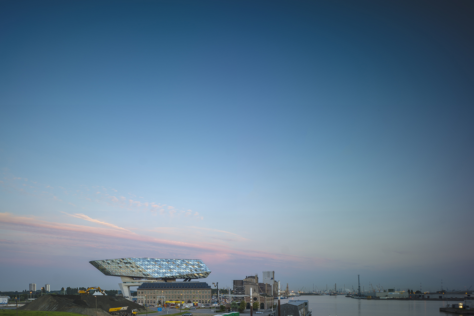 Antwerp Port House At Dawn - Zaha Hadid Architects