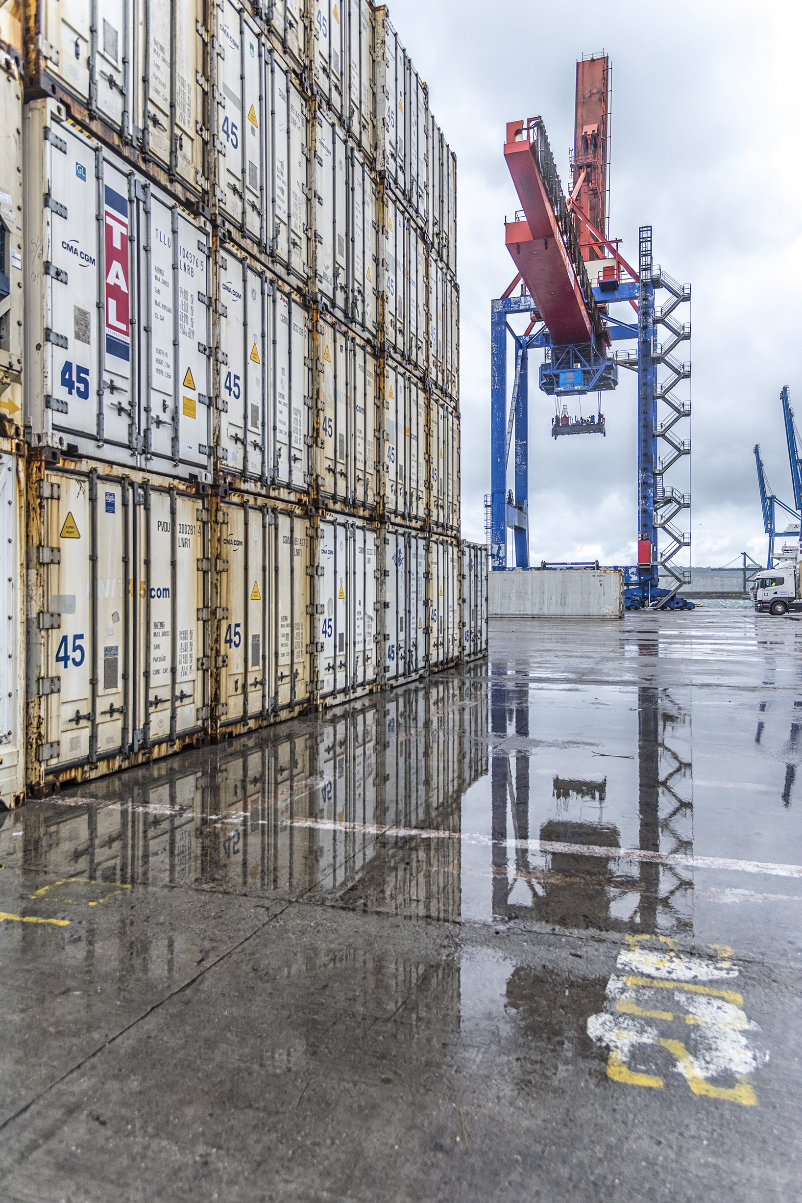 Container Stack In The Rain