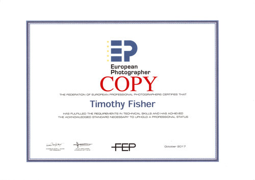 European Photographer - Professional Photographer Status.