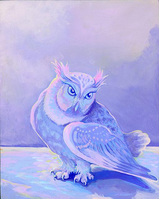 "Owl in Winter  (Acrylic gouache on wood panel, 10x8"" wood panel ©Kristin Richland)"