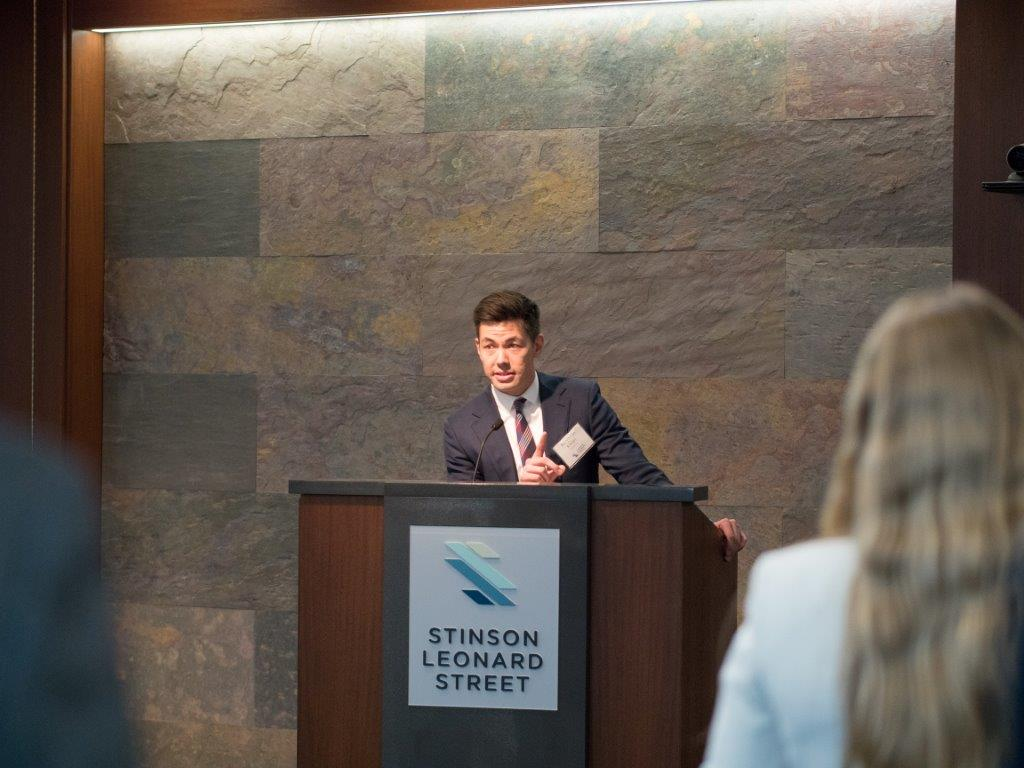 Haller Kwan LLP Managing Partner Ben Kwan speaking at the April 24 Stinson Leonard Street Diversity Scholars Reception. Kwan is an alumnus of the program.