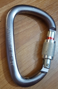 Petzl William Screwgate Locking Carabiner. You can see the rating information (kN) on the spine (left).