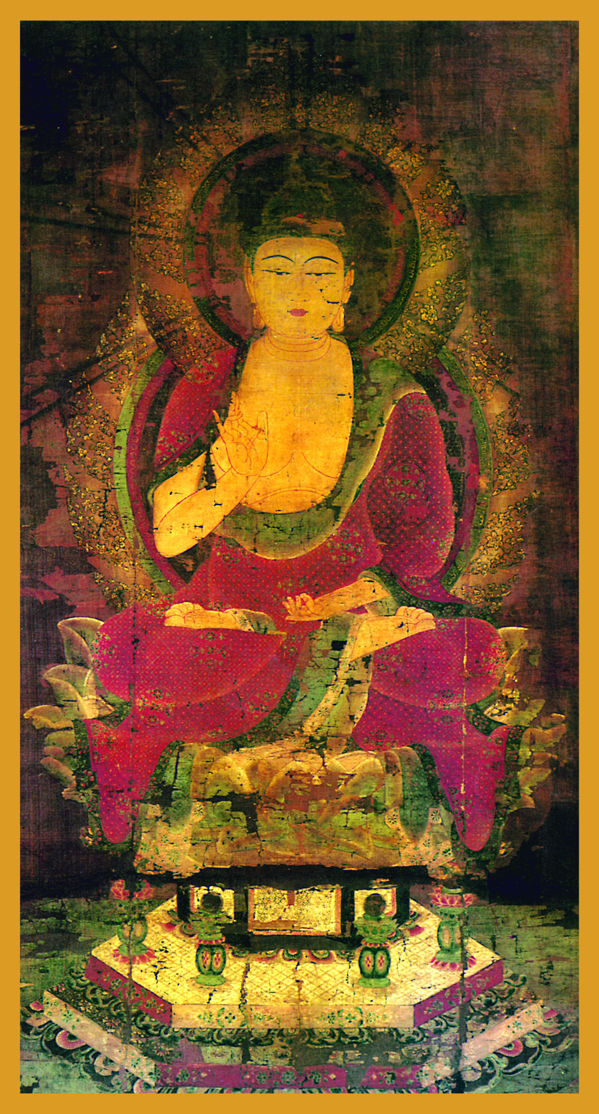 BUD-AM - Amitabha BuddhaBuddha of Boundless LightBuddha, in the sixth century BC, at the age of 35, invoked the earth as his witness when he attained Enlightenment. This is indicated by the fingers of his right hand in the